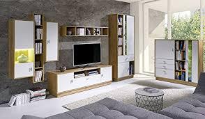 wohnwand lila anbauwand möbel schrank schrankwand wohnzimmer modernes design lefkas weiß korpus lefkas front weiß mit led blau