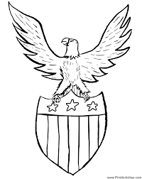 Patriotic Coloring Page Of An Eagle And Shield For The Fourth July
