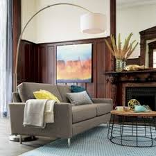 West Elm Overarching Floor Lamp by Overarching Linen Shade Floor Lamp Antique Brass Overarching