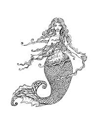 Free Coloring Page Adult Mermaid With Long Hair By
