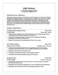 Spa Therapist Resume Experienced Wellness Center Massage Cv Examples
