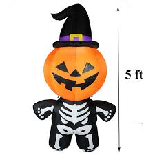 Halloween Witch Yard Stakes by Amazon Com Joiedomi Halloween Inflatable Blow Up Pumpkin Skeleton