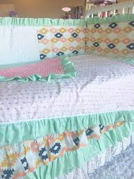 Aqua And Coral Crib Bedding by Aztec Arrow Mint Aqua Gold Coral Pink Crib Bedding U2013 The