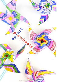 Easy Kids Paper Crafts Decorate And Make Your Own Op Art Pinwheels Template