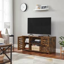 vasagle lowboard ltv102x01 tv schrank tv regal mit lamellentüren für fernseher bis zu 43 zoll vintagebraun kaufen otto