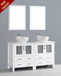 Bathroom Sink Vanities Overstock by White 60in Double Round Vessel Sink Vanity By Bosconi Boaw230ro