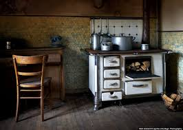 A Range Cooker In The Kitchen Of An Abandoned Watermill Farmhouse Located Isolated Valley Luxembourg Countryside Matt Chateau Interior