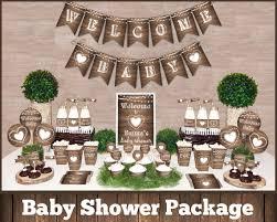 Rustic Baby Shower Decorations Printable Package Gender