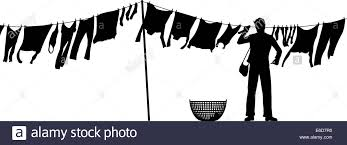 Editable Vector Silhouette Of A Man Hanging Clothes On Washing Line