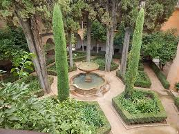 Jeffrey Court Outer Banks Mosaic Tile by A Fountain Surrounded By Stately Cypress Trees At The Alhambra
