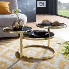 finebuy couchtisch sina mit 3 tischplatten 58 x 43 x 58 cm beistelltisch rund design wohnzimmertisch glas metall designer glastisch sofatisch
