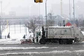 100 Sanitation Truck BRONX NEW YORK MARCH 14 Plowing Snow In Stock