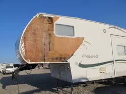 Before Repairs Photo Chaperral 5th Wheel Travel Trailer Came In With Storm Damage To Color