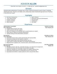 Administrative Coordinator Resume Sample
