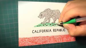 Drawn Grizzly Bear California Republic 2