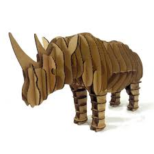 3d Puzzle Rhino Toys Model Paper Craft Kids Adults DIY Cardboard Animal Decoration Rhinoceros Decor Children