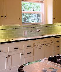 Interior Design Green Subway Tile Backsplash In Great Kitchen Completed With White Cabinet And Windows Colored Ba