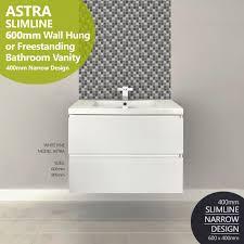 Narrow Depth Bathroom Vanity by Astra Slimline 600mm White Pine Timber Wood Grain Narrow