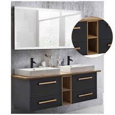 lomadox badmöbel set dabo 04 spar set 3 tlg waschtisch led spiegel dabo 04 in anthrazit mit landhaus eiche b h t 210 200 50 cm