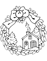 Click To See Printable Version Of Christmas Wreath With Gingerbread House Coloring Page