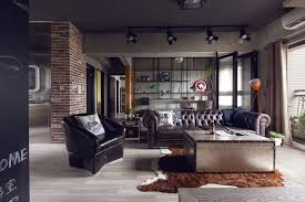 ApartmentAdmirable Dark Industrial Kitchen Apartment Design With Metal Exhaust Hood And Distressed Dining Table