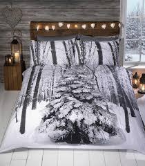 Winter Sparkle Snowy Christmas Tree Duvet Cover