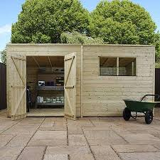 14 x 6 pressure treated tongue and groove pent shed waltons sheds