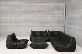 100 Lignet Rose Vintage Black Leather Togo Lounge Set By Michel Ducaroy For Ligne
