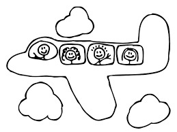 Coloring Pages Printable Plane Preschool Sample Great Nice Wallpaper Cloud Theme People Inside Smile Aeroplane