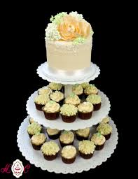 Ivory Wedding Cake With Soft Green Hydrangea Peach Peony Cupcakes