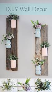 On Either Side Of Window DIY Pallet Wall Decoration Very Easy Project To Do With Pretty Flowers Mason Jars Soup Cans And Or Barn Wood