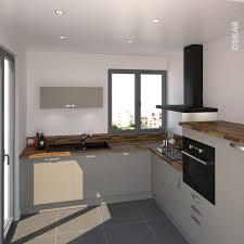 cuisine grise plan de travail bois cuisine gris taupe en l pièce semi ouverte de style