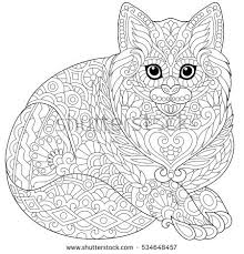 Stylized Cute Cat Young Kitten Freehand Sketch For Adult Anti Stress Coloring Book