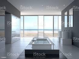 designerbadezimmer mit meerblick stockfoto und mehr bilder badeort strand