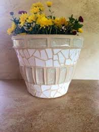 Large Flower Pot Rustic Mosaic Planter Handmade Indoor Patio Glass Kitchen Herb Garden Container