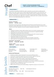 Chef Sample Resume Head 8 Word Format