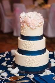 Blush And Navy Wedding Cake
