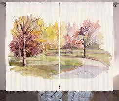 gardine schlafzimmer kräuselband vorhang mit schlaufen und haken abakuhaus fallen aquarell bäume und straße