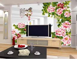 Can Customized Chinese Style Abstract Lotus Large 3d Mural Wall Painting Designs For Living