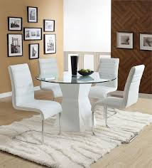 Fantastic White Round Dining Table Set Glass Extendable Fancy