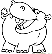 Hippo Color Page Animal Coloring Pages Plate Sheet Printable