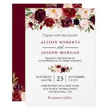 Watercolor Burgundy Red Floral Rustic Boho Wedding Card