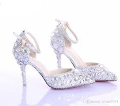 Pointed Toe Silver Pumps AB Color Bridal Shoes Rhinestone High Heel