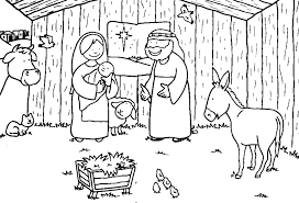 Nativity Scene Coloring Page Printable