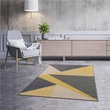 kurzflor teppich gelb pastel dreieckmuster 3224y
