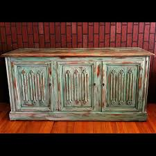 Turquoise Blue Multi Color Painted And Distressed Rustic Wood Buffet