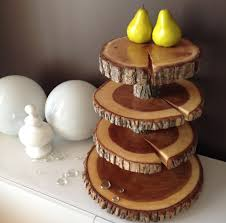 4 Tier Cupcake Stand Rustic Stands Wood Rounds Tree Trunk Cake