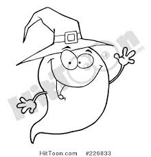 Coloring Page Outline Of A Cute Halloween Ghost Wearing Witch Hat And Waving 226833