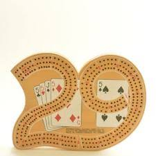Crib Board 29 Shaped Wooden Cribbage W Pegs 3 Track