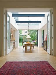 Glass Bifold Doors Dining Room Contemporary With Extension Pendant